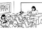 Malvorlage  Lehrerin vor der Klasse