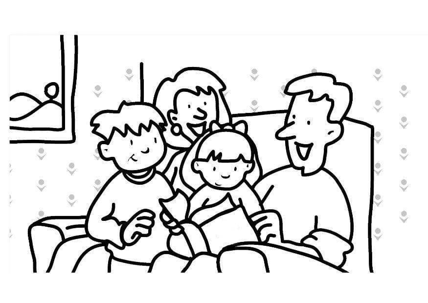 malvorlage lesen  familie  kostenlose ausmalbilder zum