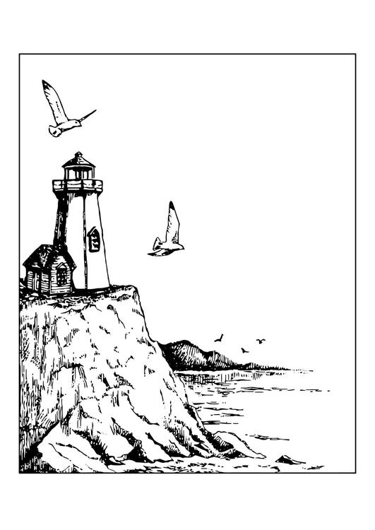 malvorlage leuchtturm - kostenlose ausmalbilder zum