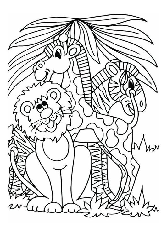 Malvorlage Löwe, Giraffe und Zebra | Ausmalbild 16605.