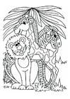 Malvorlage  Löwe, Giraffe und Zebra