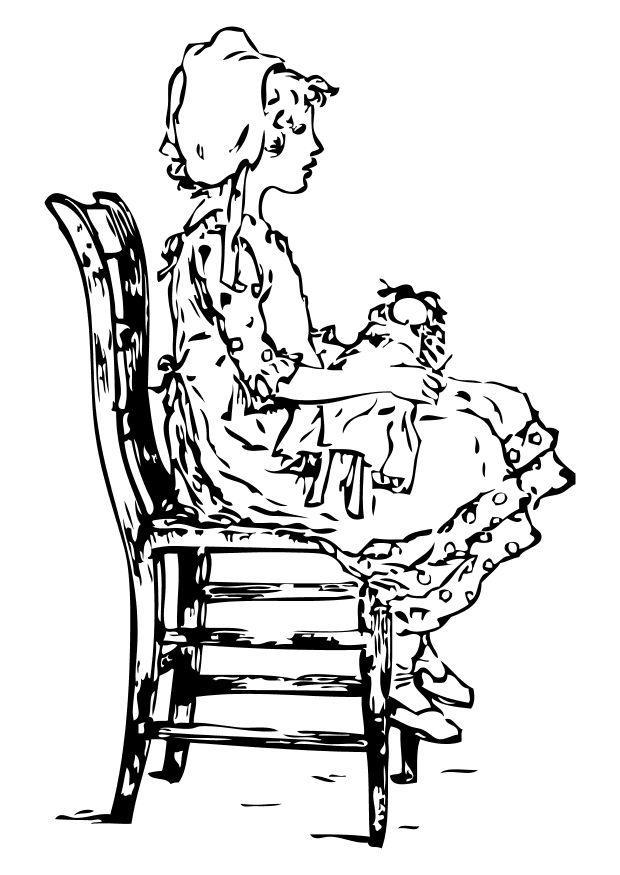 malvorlage mädchen auf stuhl  kostenlose ausmalbilder zum