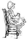 Malvorlage  Mädchen auf Stuhl