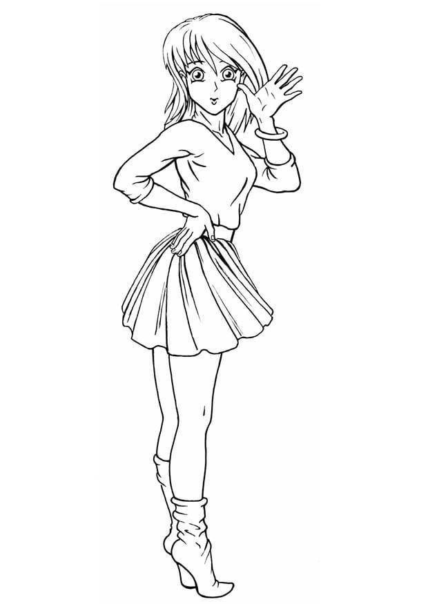 Malvorlage Mädchen | Ausmalbild 8825.