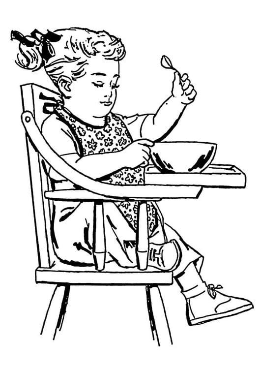 Malvorlage m dchen in einem stuhl mit hoher lehne for Stuhl mit hoher lehne