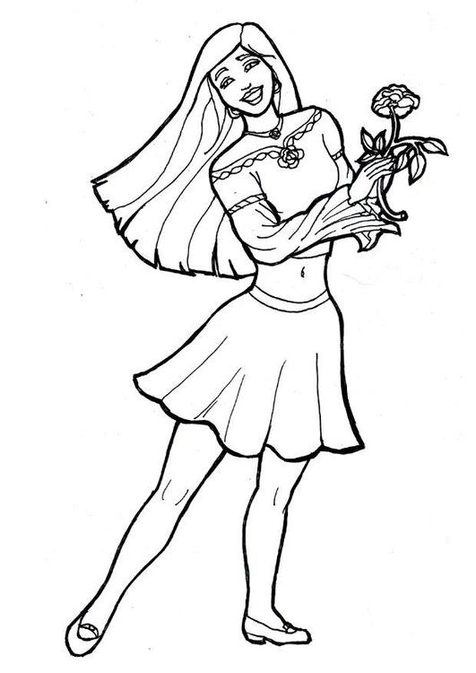 Malvorlage Mädchen mit Blume | Ausmalbild 7174.