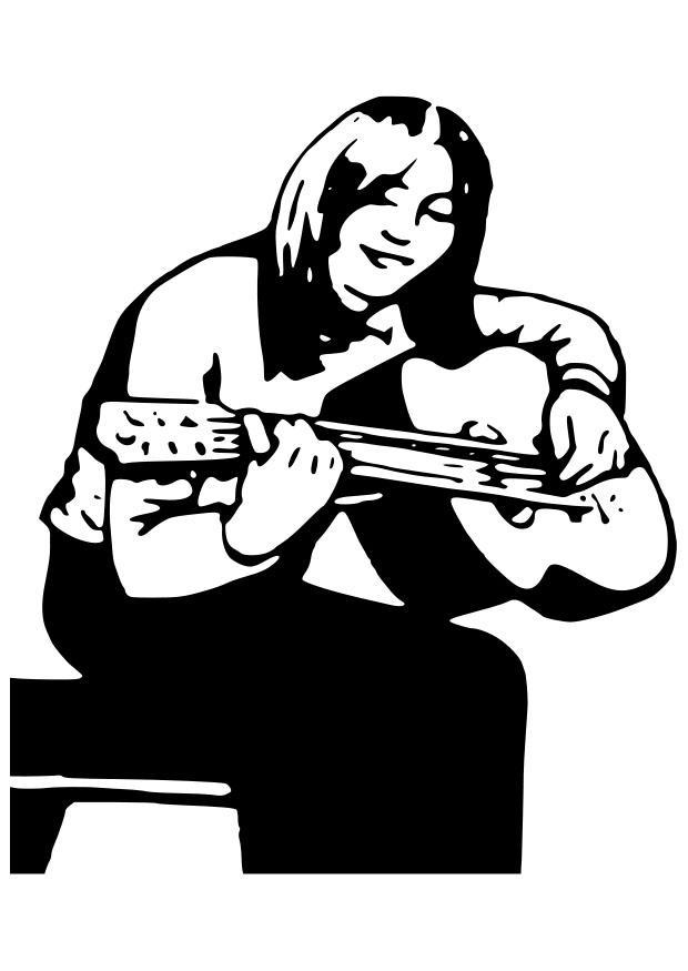 malvorlage mädchen mit gitarre  kostenlose ausmalbilder