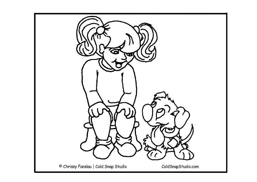 Malvorlage Mädchen mit Hund | Ausmalbild 7365.