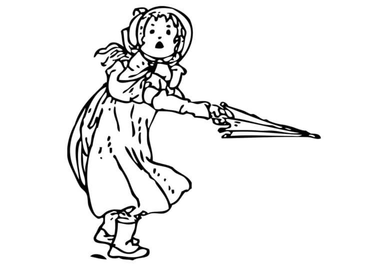 malvorlage mädchen mit regenschirm  ausmalbild 28356
