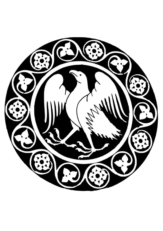 Malvorlage Mandala Adler   Ausmalbild 26335.