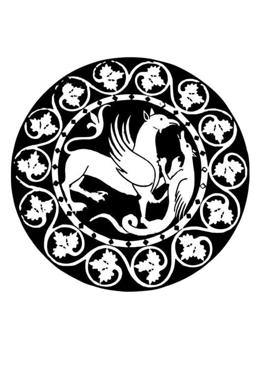 Malvorlage Mandala Greif Und Drache Ausmalbild 26351