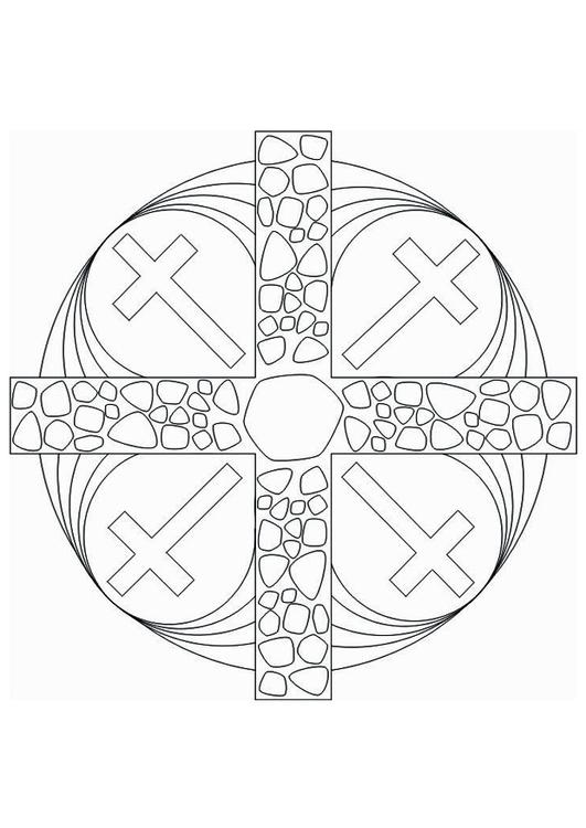 Malvorlage Mandala Kreuz Ausmalbild 16437