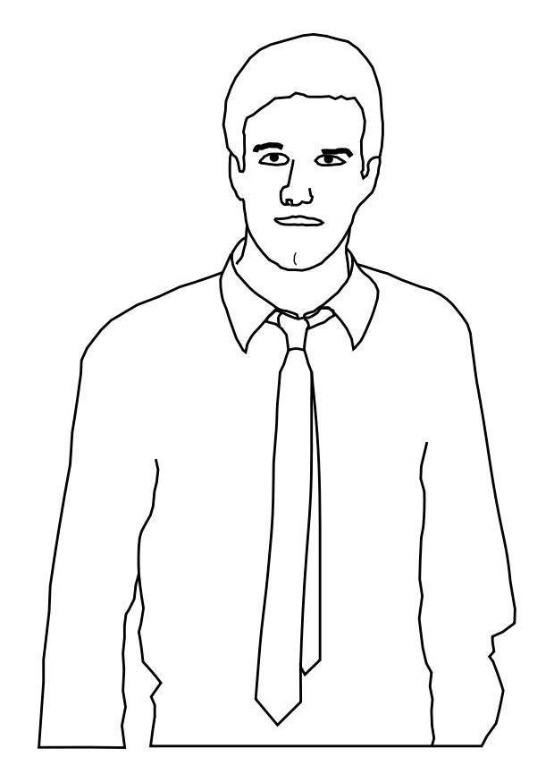 malvorlage mann mit krawatte  ausmalbild 25588