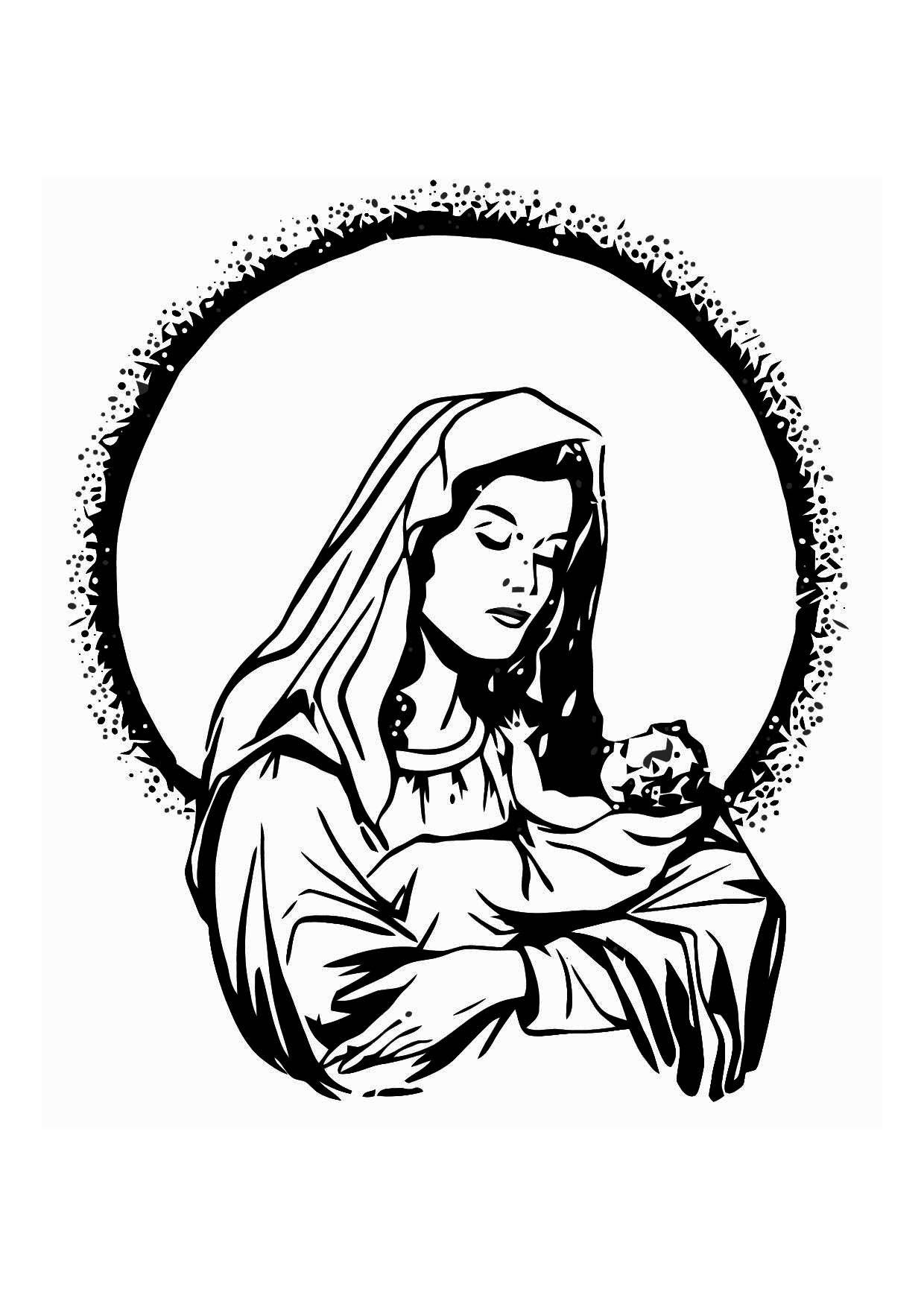 malvorlage maria und jesus  kostenlose ausmalbilder zum