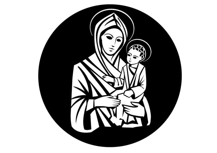 malvorlage maria und jesus  ausmalbild 24747
