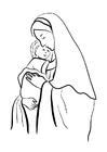 Malvorlage  Maria und Jesus