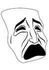 Malvorlage  Maske - weinen
