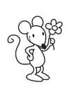 Malvorlage  Maus mit blume