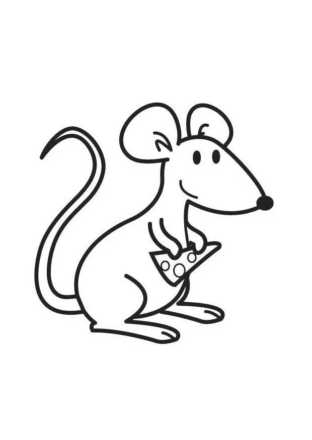 Malvorlage Maus mit Käse   Ausmalbild 17835.