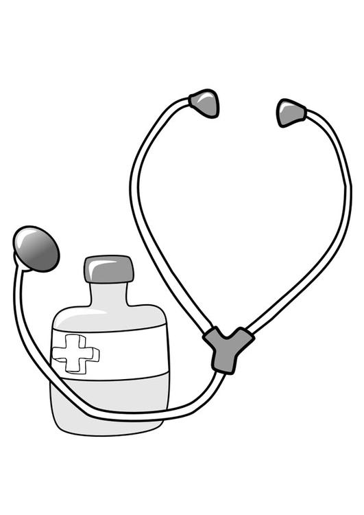 Malvorlage Medizin und Stethoskop | Ausmalbild 22390.