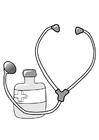 Malvorlage  Medizin und Stethoskop