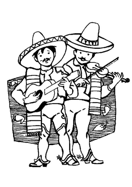 Malvorlage Mexikanische Musikanten | Ausmalbild 9366.
