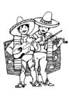 Malvorlage  Mexikanische Musikanten
