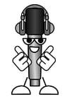 Malvorlage  Mikrofon - Musik hören