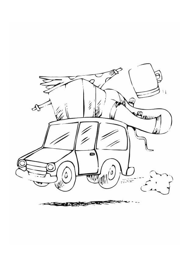 Urlaub malvorlage  Malvorlage Mit dem Auto im Urlaub   Ausmalbild 10767.