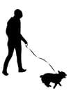 Malvorlage  mit dem Hund spazieren gehen
