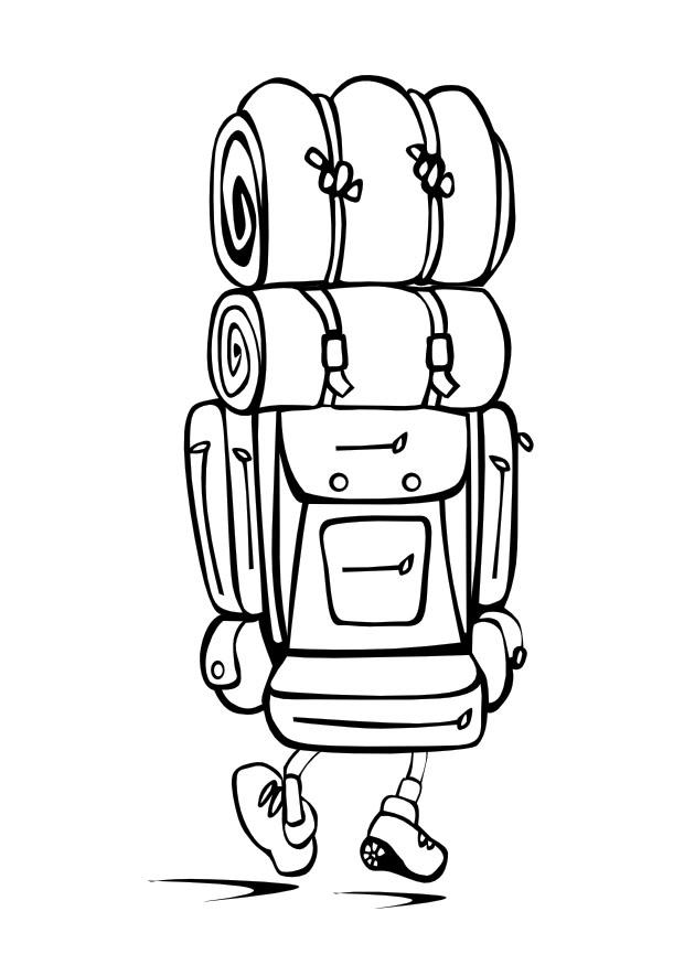 Rucksack ausmalbild  Malvorlage mit dem Rucksack unterwegs | Ausmalbild 9974.