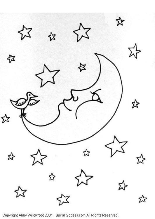 Malvorlage Mond | Ausmalbild 6052.