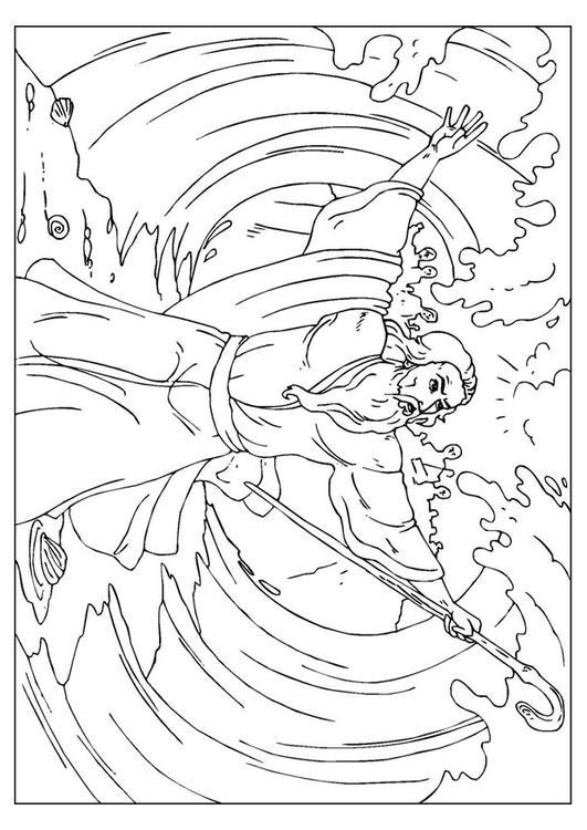 Malvorlage Moses teilt das Meer   Ausmalbild 25959.