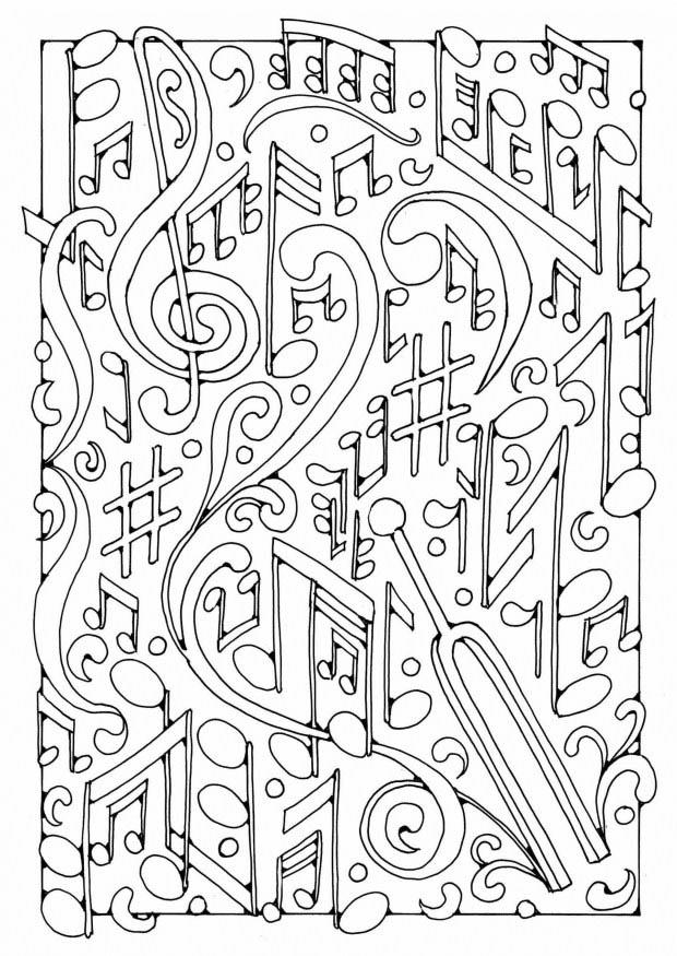 Malvorlage musik ausmalbild 19589 for Music notes coloring page
