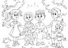Malvorlage  Muslimische Kinder bei Kindern aus dem Westen