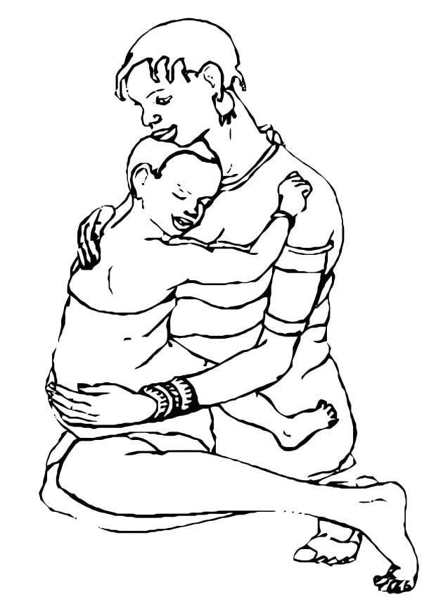 Malvorlage Mutter und Kind   Ausmalbild 10991.