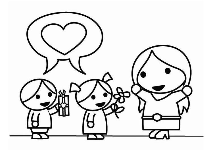 Malvorlage Muttertag mit Kindern   Ausmalbild 26449.