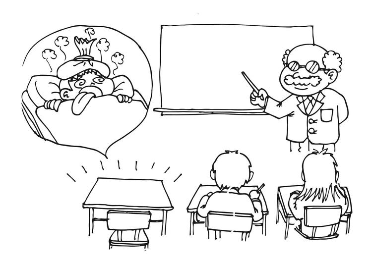 Malvorlage nicht in der Schule wegen Krankheit | Ausmalbild 11695.