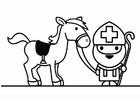 Malvorlage  Nikolaus mit Pferd