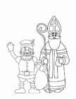 Malvorlage  Nikolaus und schwarzer Peter