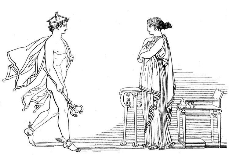 Malvorlage Odysseus - Hermes befielt Calypso die Freilassung von ...