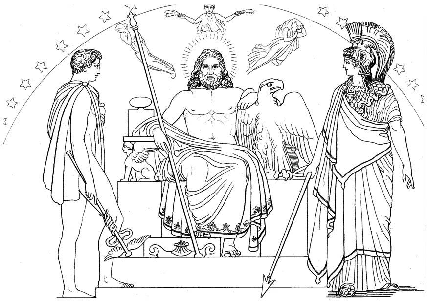 Malvorlage Odysseus - Hermes, Zeus und Athena | Ausmalbild 17476.