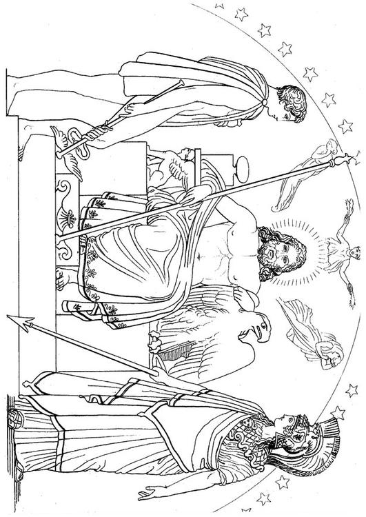 Malvorlage Odysseus - Hermes, Zeus und Athena | Ausmalbild 18657.