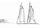 Malvorlage  Odysseus - Minerva kommt in Pylos an