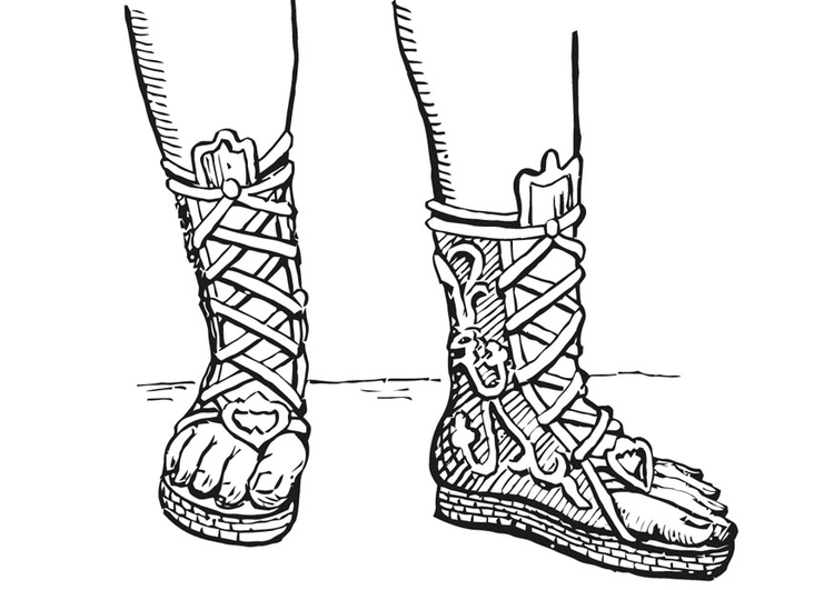 Malvorlage Offener Stiefel Griechen Und Römer Ausmalbild 13322