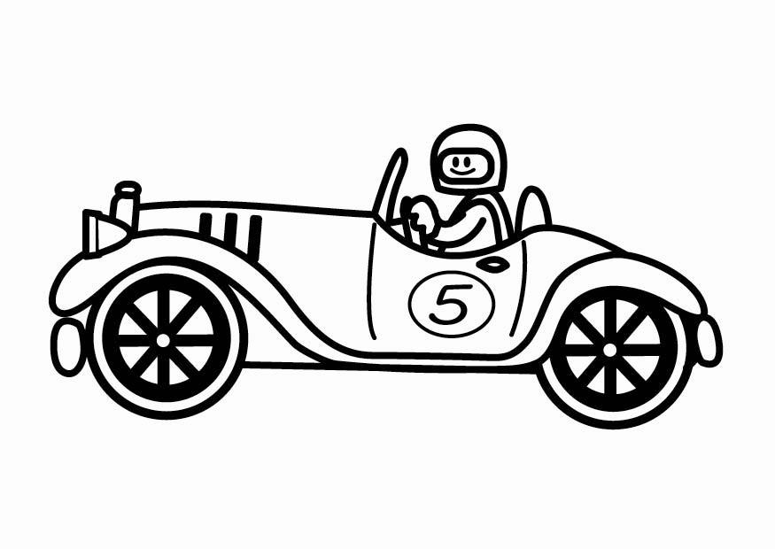 malvorlage oldtimer rennauto | ausmalbild 24112.