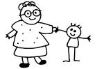 Malvorlage  Oma und Kind