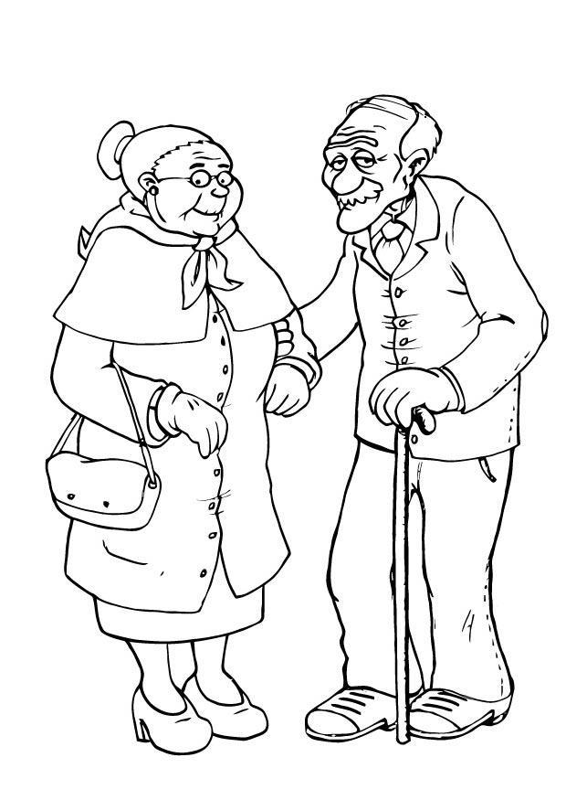 Malvorlage Oma und Opa | Ausmalbild 23105.