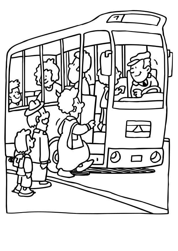 Malvorlage Omnibus | Ausmalbild 6486.