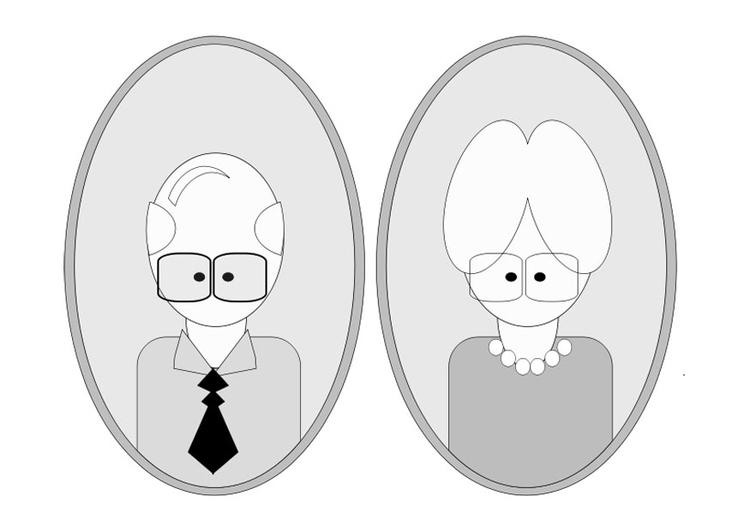 Malvorlage Opa und Oma   Ausmalbild 25560.